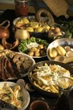 Soutzouki, pastourmas, ägg och köttbollar royaltyfri bild