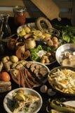 Soutzouki, pastourmas, ägg och köttbollar arkivbild