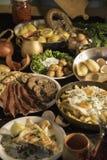 Soutzouki, pastourmas, ägg och köttbollar fotografering för bildbyråer