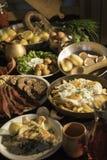 Soutzouki, pastourmas, ägg och köttbollar arkivfoto