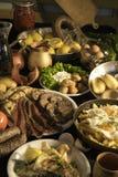 Soutzouki, pastourmas, eieren en vleesballen Stock Foto's