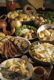 Soutzouki, pastourmas, eieren en vleesballen Stock Afbeelding