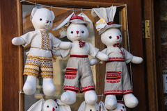 Souvenir animal dolls in ethnic ukrainian clothes on the shop Stock Images