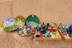 Souvenir arabic colorful bowls at the street market Stock Image