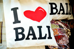 Souvenir bag with the word say i love bali Royalty Free Stock Images