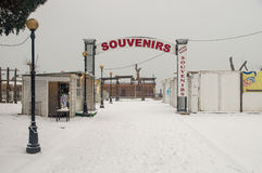 Souvenir Bazaar in Pomorie, Bulgaria, winter stock images