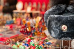 Souvenirs on the streets of Moscow stock images