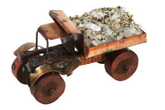 Souvenir - the car. With ore quartz and metal it is isolated on a white background Stock Image