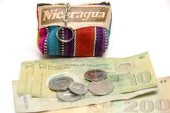 Souvenir change purse coins Nicaragua. Souvenir memento key chain change purse hand made woven colorful fabric made in Nicaragua with cordoba coins and paper Stock Image