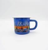 Souvenir coffee cup. Small blue souvenir coffee cup Royalty Free Stock Photos