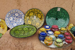 Souvenir colorful bowl and plates Stock Image