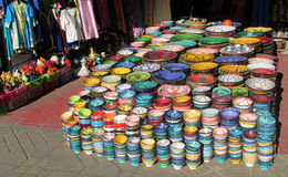 Souvenir colorful bowls Royalty Free Stock Image