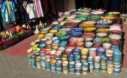 Souvenir colorful bowls Royalty Free Stock Image