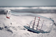 Souvenir conceptual image. Ship in a bottle Stock Photo