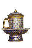 Souvenir cup. Glass tea tiles Ben chromatic Stock Image