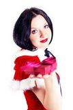 Souvenir from the cute brunette to Christmas Stock Images
