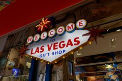 Souvenir de Las Vegas sur l'affichage à la boutique de cadeaux photographie stock libre de droits