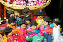 Souvenir dolls in bolivian national cloth Stock Photos