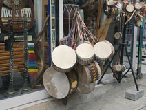 Souvenir drums in Istanbul shop Royalty Free Stock Photos