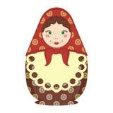 Souvenir för ryss för Matryoshka docka traditionell på vit royaltyfri illustrationer