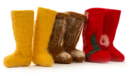 Souvenir felt boots of fulled wool Royalty Free Stock Photography