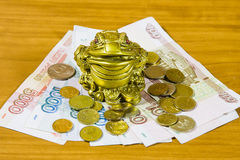 souvenir is a frog and Russian money Royalty Free Stock Image