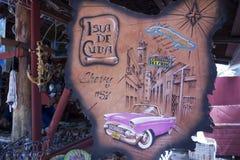 Souvenir Gift Shop Amateur Art Drawing Classic Cuban Car Colonial Architecture royalty free stock image