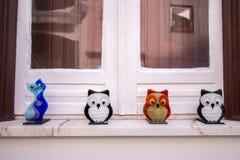 Souvenir glass owls. Original souvenir glass owls  from Monchique village, Portugal Royalty Free Stock Images
