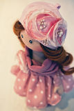 Souvenir handmade doll with natural hair Royalty Free Stock Images