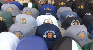 Souvenir hats with Petra Jordan on them Stock Images