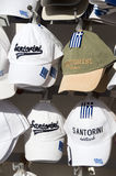 Souvenir hats sale display Santorini Stock Photo