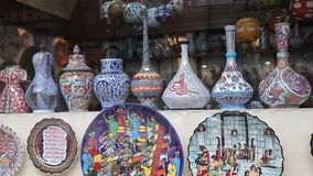 Souvenir homemade wares for tourists in Istanbul stock video footage
