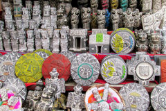Souvenir idols in bolivian witches market. Quechua South America indian traditional souvenirs and amulet sold on the street market in Bolivia nad Peru. Indian Royalty Free Stock Images