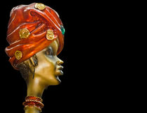 Souvenir - Indian woman's head. Fashion, beauty and style. Black background Royalty Free Stock Image