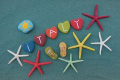 Italy, souvenir with multicolored heart stones Royalty Free Stock Images