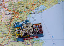 Souvenir from Italy, Venice. On the map stock images