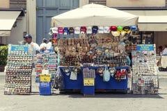 Souvenir kiosk store in Rome (Popolo square) Royalty Free Stock Image