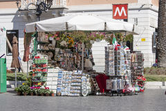 Souvenir kiosk store in Rome (Spanish square) Royalty Free Stock Images