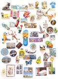 Souvenir magnets from all over the world on refrigerator. Royalty Free Stock Images