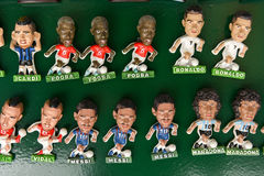 Souvenir magnets of famous football players stock photo