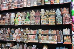 Souvenir magnets of the historic Amsterdam houses stock photos