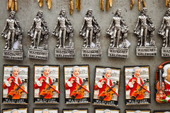Souvenir magnets with Mozart in Salzburg, Austia Royalty Free Stock Photo