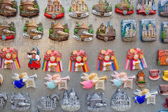 Souvenir magnets for sale in Lviv, Ukraine Royalty Free Stock Images