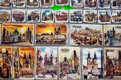 Souvenir magnets for sale in Prague, Czech Republic Stock Photography