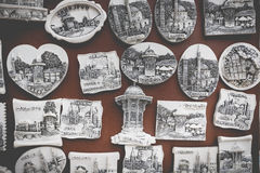 Souvenir magnets from Sarajevo Royalty Free Stock Images