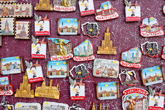 Souvenir magnets with sights of Warsaw, Poland Royalty Free Stock Image