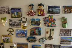 Souvenir magnets sticked on the fridge of home Stock Photo