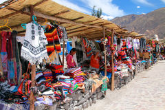Souvenir market in Maca village in Colca Canyon, Peru Royalty Free Stock Images