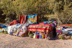 Souvenir market in Tambomachay,Peru,South America  Street shop with colorful blanket, scarf, cloth, ponchos Stock Photo