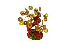 Souvenir mascot money tree with coins on the branches stock photography